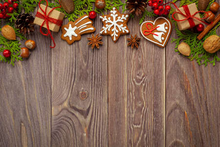 Christmas - background with gingerbreads and space for text