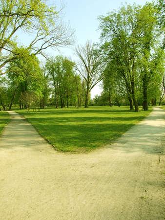 a crossroads in a park  Foto de archivo