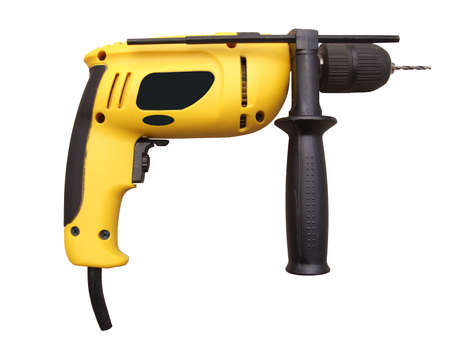 yellow drill isolated on white, with clipping path