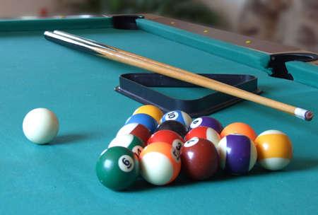 billiard table with billiard's balls Foto de archivo