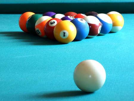 pool halls: billiard tballs on green Stock Photo