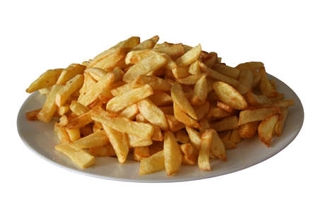 frites: franch frites on a plate, isolated
