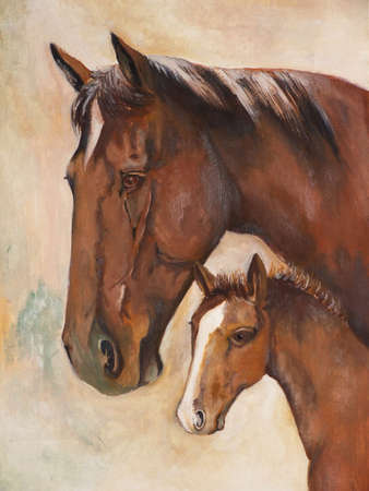 oil paint of two horses  photo