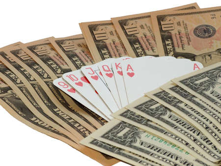 hearts poker against background made of dollars Stock Photo