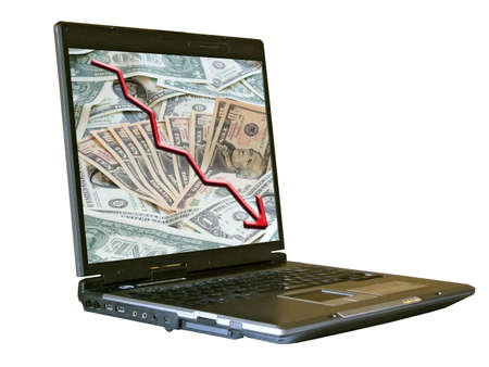 notebook isolated on white,and rising dollar graph with dollars background on desktop photo