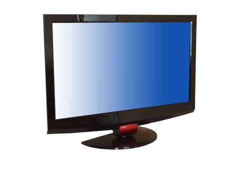 Flat tv set isolated n white,  Stock Photo