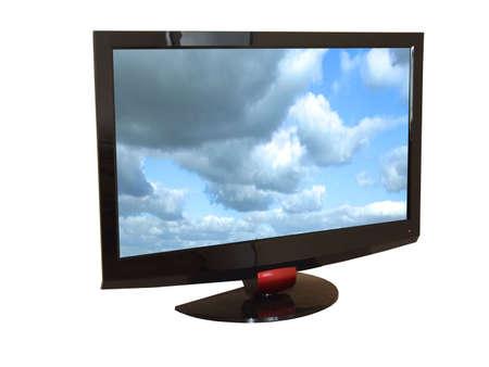 Flat tv set isolated on white photo