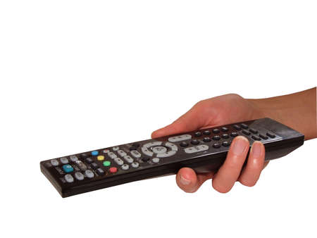 Tv remote control in womans hand, isolated on white