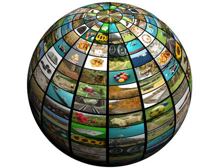 sphere with many pictures - digital y=tv concept