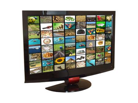 Flat tv set isolated on white, with images mosaic inside