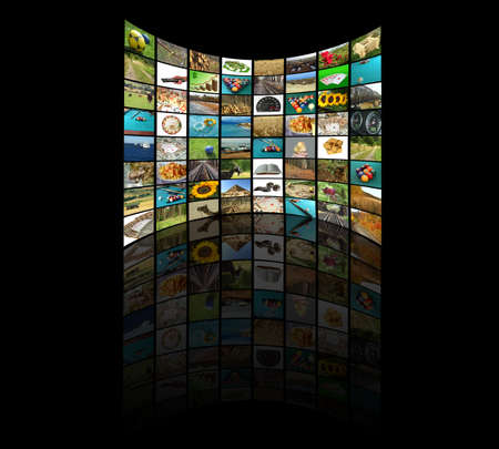 Television concept with many pictures and reflection photo