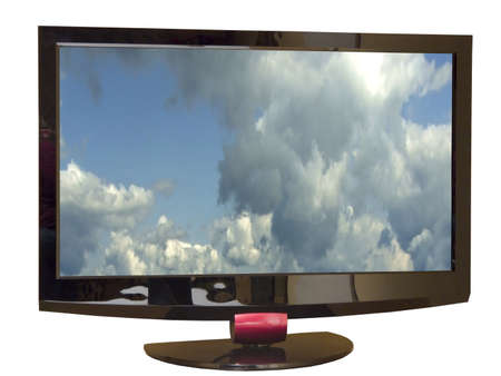 wideview: TV set isolated with clouds on screen and path inside and outside