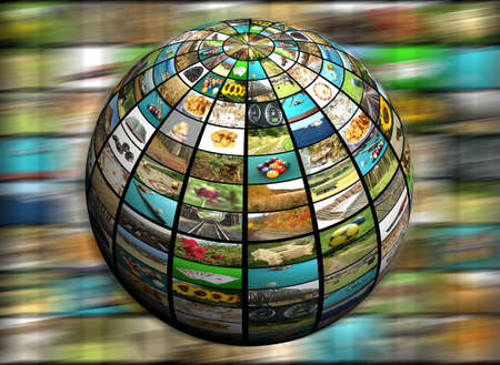 Modern television concept, sphere screen in motion