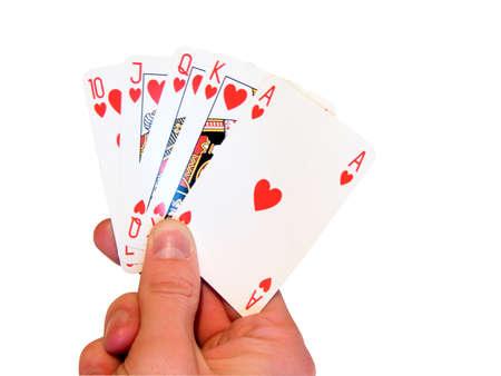 Heats poker in hand, on white photo