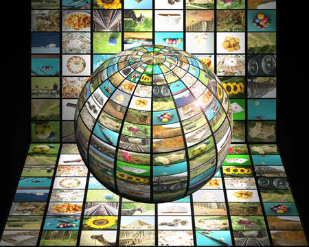 digital television: Sphere with many pictures in fron of digital television screen, modern 3D television concept