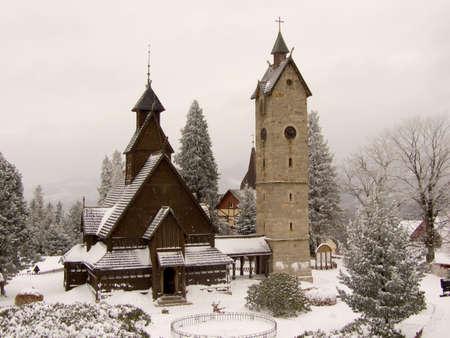 wang: Wang Templo en Karpacz, Polonia, paisajes de invierno