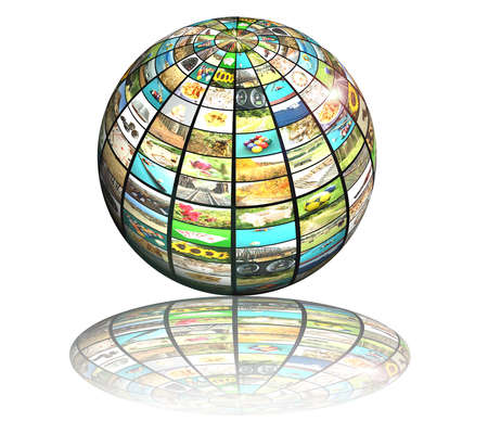 digital television: sphere with many pictures and reflection, digital television concept