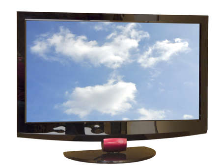 wideview: Front of TV set with clouds on screen Stock Photo