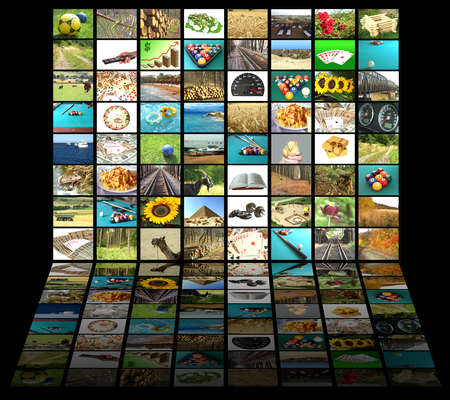 Television concept with many pictures and reflection on black background