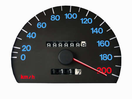 Spedometer showing speed over the limit