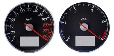 braking: Speedometer and tachometer over the limits, braking the max speed. Stock Photo