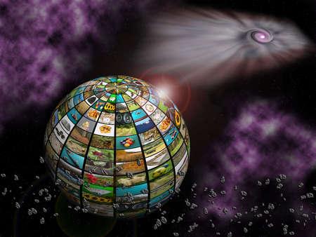 the universe: Esfera con muchas im�genes, mosiac, concepto de televisi�n en el espacio.