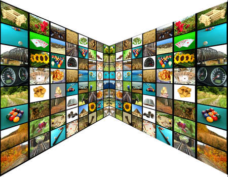 Television concept with many pictures  photo