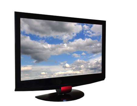 Flat tv set isolated n white, with clippping insaid and outside and clouds on screen Stock Photo