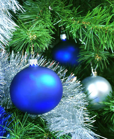 Blue and silver crystal balls on a Christmas tree Stock Photo - 6078138