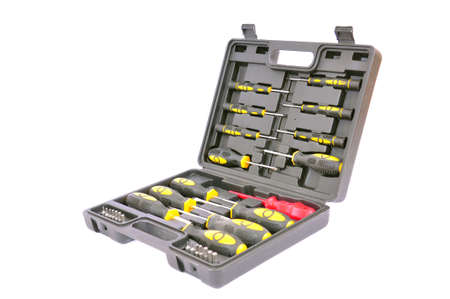 Open toolbox with screwdrivers, isolated on white with clipping path Stock Photo - 6350332