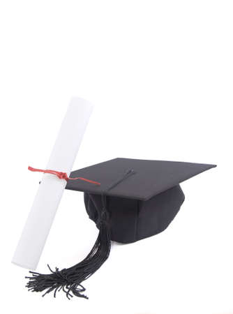 alumna: Student hat wit diploma and red ribbon isolated on white Stock Photo