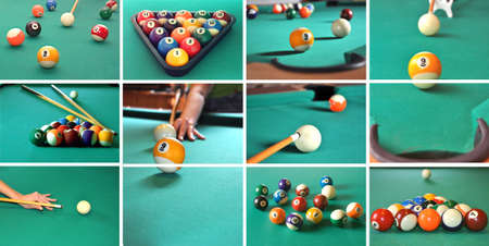 A collage of billiard items, balls, sticks, table, game concept.  Stock Photo