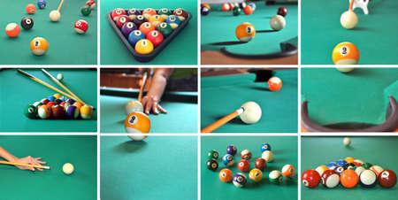 A collage of billiard items, balls, sticks, table, game concept.  Foto de archivo