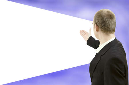 advertisment: Businessman showing white empty screen. Copy space for yours advertisment Stock Photo