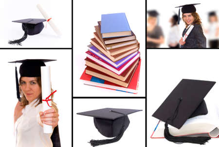 A collage of picture connected with student graduation. Graduation hat, diploma, happy student with diploma photo