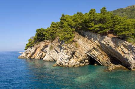 Rock coastline of Adriatic sea, Landscape of Montenegro photo