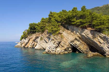 Rock costline of Adriatic sea, Landscape of Montenegro photo