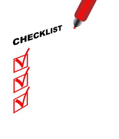 Checklist with approve signs and pen, on white background Foto de archivo