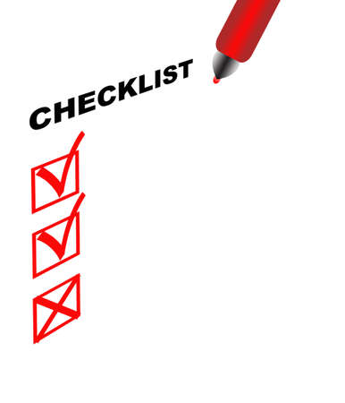 Checklist with two approve and one unapproved sign signs and pen, on white background Stock Photo - 8471697