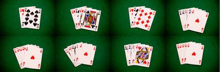 Set of basic poker figures on green background