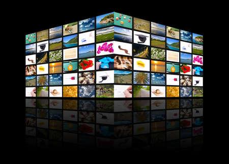 Big multimedia television panel - multimedia cube photo