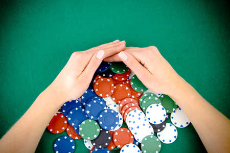 bet: Casino win, gabmling chips taken by hands