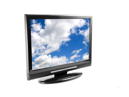 Tv set isolated on white, with clouds on screen photo