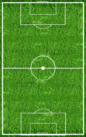 cancha deportiva futbol: Vista superior en el campo de fútbol Foto de archivo