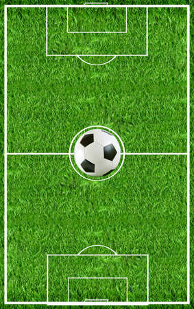 penalty flag: Top view on the football field with ball inside Stock Photo