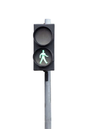 Green traffic light for pedestrians, isolated on white Foto de archivo