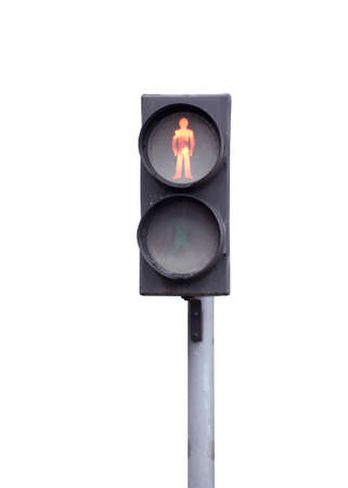 Red traffic light for pedestrians, isolated on white photo