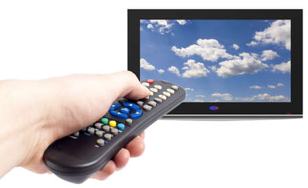 command button: Remote control in men hand and tv set,isolated on white Stock Photo