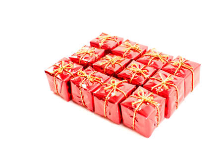 Twelve gift boxes isolated on white Stock Photo - 11582573