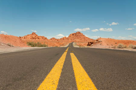 deserts: Wide road in the USA, Fire Valley